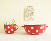 Reserved for Vered Polka Dots Vintage Red Enamel Bowl and Mug Farmhouse Chic on Etsy