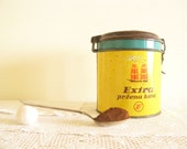 Coffee Round Tin, Vintage Kitchen Decor, Retro