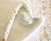 Shabby & Chic Wedding Heart Wreath Eco Chic Re purposed Vintage Lace, Linen and Buttons by Mycherrytree