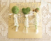 Woodland Boutonnieres  A Set of Three Needle Felted Faux Moss Woodland Wedding For Groom and Groomsmen by Mycherrytree