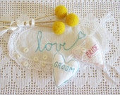 Wedding Glasses Heart Decor or Hanger Decor Bride & Groom Shabby Chic Hand Embroided Free Shipping Etsy