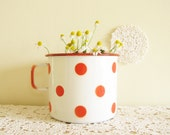 White Vintage Enamel Mug with Red Polka Dots Something Old Cottage Decor