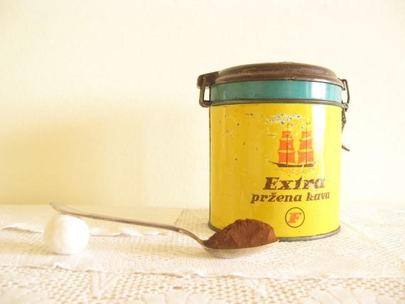 Coffee Round Tin, Vintage Kitchen Decor, Retro