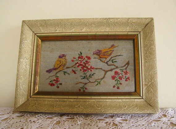 Love Birds Vintage Fabric Picture Vintage Inspired Wedding Decor