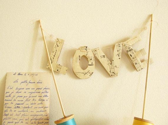 Love Sign Wedding Cake Topper Music Bunting Repurposed Vintage Music Manuscript Sheet Reusable by Mycherrytree