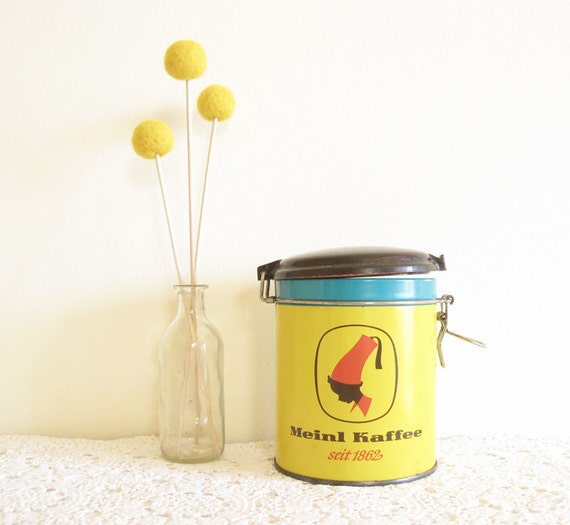 Vintage Yellow Shabby Chic Round Coffee Tin on Etsy