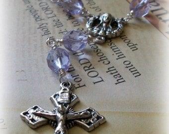 Lilac Purple Czech Glass Pocket Purse or Car Single Decade Rosary