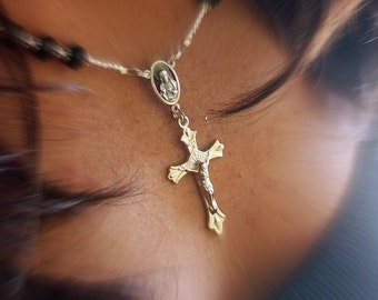 Unisex Sparkling Black Crystal Rosary inspired Cross Necklace with Silver-Made to Fit