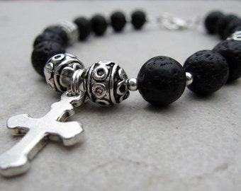 POWERFUL- Genuine LAVA ROCK Spiritual Cross Bracelet with silver accents