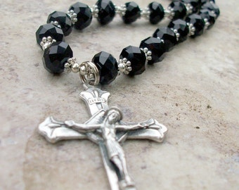 Mens Black Crystal Rosary inspired Cross Necklace with Silver-Made to Fit