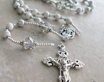 Powerful and Calming White Howlite Gemstone Rosary with Clear Czech Crystals and Silver