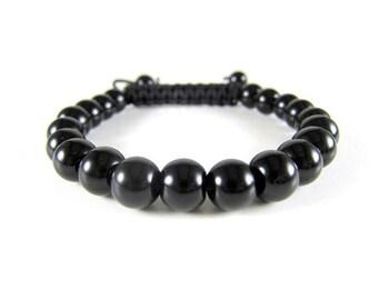 Black Onyx Spiritual Beaded Bracelet Macrame Adjustable