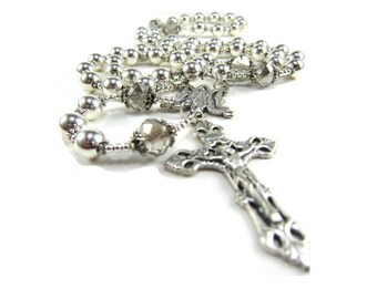 Handmade Silver Rosary Necklace with Czech Crystals and Devine Mercy