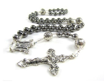 Mens Gunmetal Rosary Necklace with Silver, Large