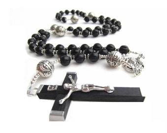 Men's Large Black Wooden Fashion Rosary Necklace with Silver Accents-Ready to ship