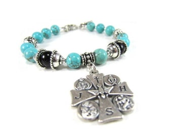 Turquoise and Onyx Beaded Cross Bracelet with Silver