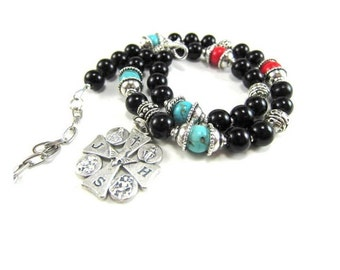 Black Onyx Beaded Cross Necklace with Blue and Red Turquoise and Silver, Handmade