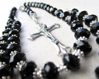 Black Crystal Cross Rosary Necklace, Choker Style