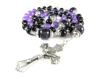 Black and Amethyst Gemstone Rosary in Onyx, Amethyst and Quartz with Silver Accents