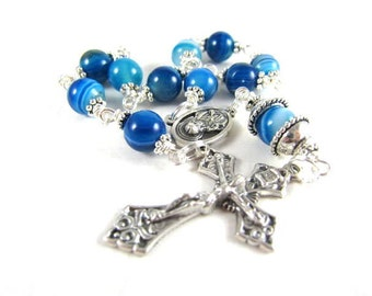 Striped Blue Agate Rosary Beads for Pocket Purse, Healing
