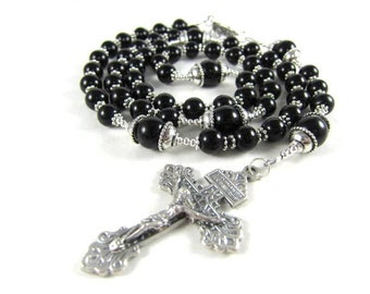 Black Rosary Beads in Black Onyx and Crystal with Pardon Crucifix