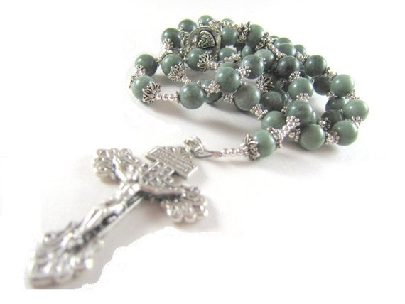 Green Jade Rosary Necklace with Silver