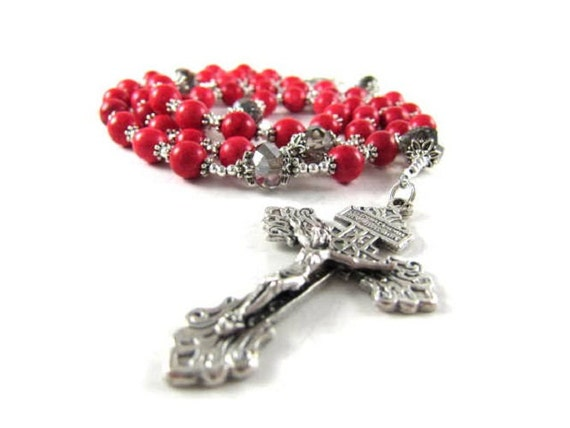 Red Turquoise Rosary with Crystal