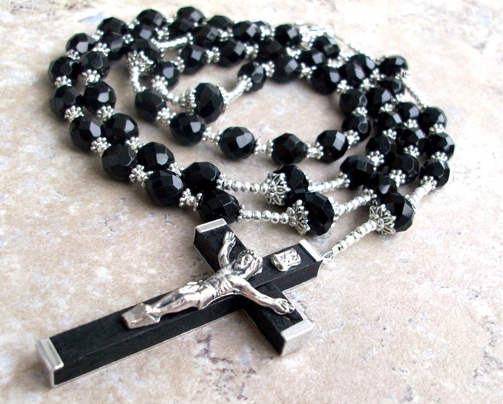 Mens Large Black Crystal Rosary Necklace With Silver