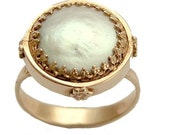14k Rose gold engagement crown, Victorian ring with a flat coin pearl - Snow white.