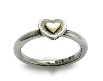 Valentines Ring, sterling silver engagement ring, yellow gold ring, gold heart ring, two-tone ring, simple ring - Valentines. R1382AC