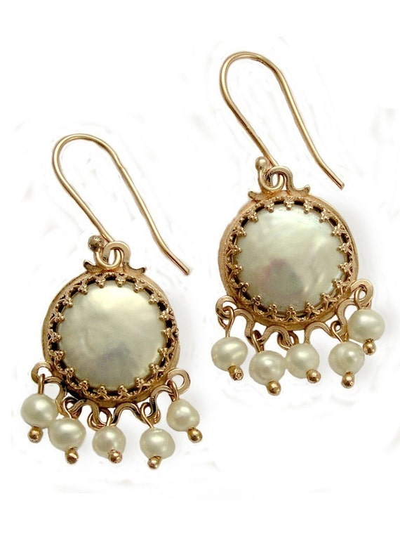 14k Rose gold ethnic chandelier earrings with dangle pearls and coin pearl - La vie en rose.