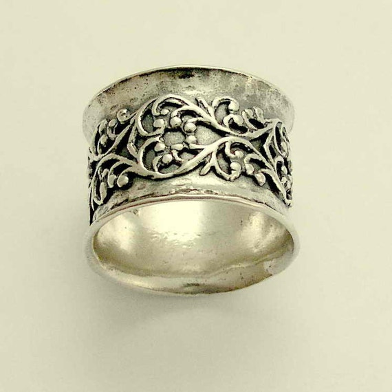 wide ring sterling silver ring wedding band by artisanimpact