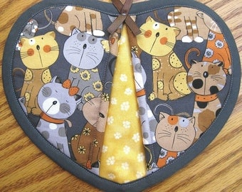 Quilted Potholder Heart Cat Bird Handmade Cat Fabric Cotton Fabric Trivet Pot Holder Quilted For Her Mom Gift Housewarming Gift 2 Set