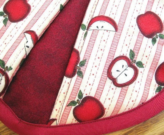 Apples with Vertical Stripes Potholders - Set of 2