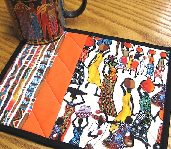 Africa Mug Rugs Quilted Handmade Cotton Fabric African Fabric Patchwork Snack Trivet Gift Idea For Her 2 Set