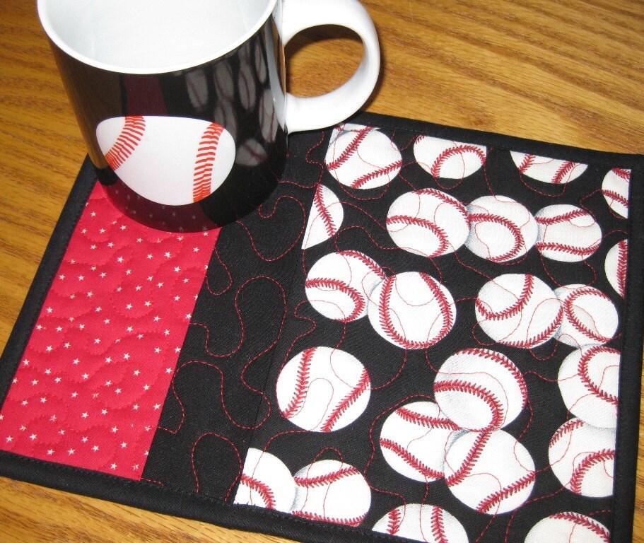 Baseball Mug Rugs Set Of 2