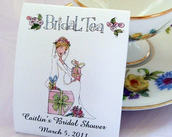Bridal Shower Teabag Favors- Bridal Tea, Tea Party- Set of 25
