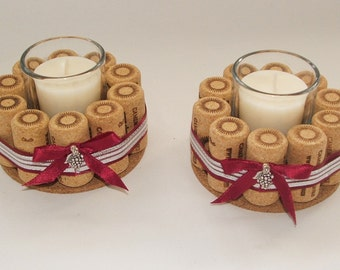 Wine Cork Candle Holders- Set of Two