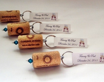 Wine Cork Keychain Favors- Great Wedding or Bridal Shower Favors