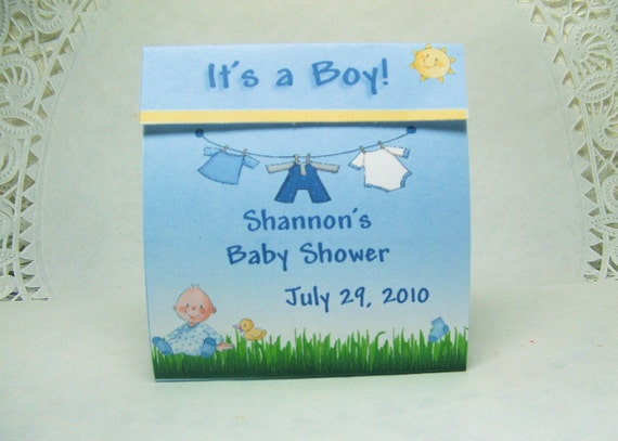25- Baby Shower Tealight Candle Favor- Baby Boy- Clothline