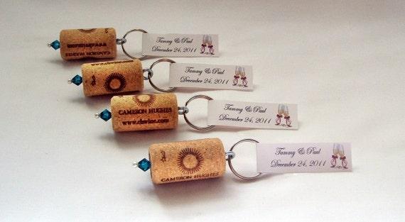 Wine Cork Keychain Favors- Great Wedding or Bridal Shower Favors