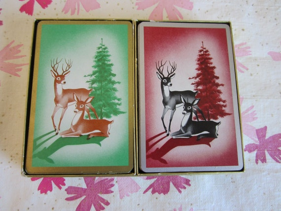 Vintage Congress Double Deck Playing Cards with Deer Motif