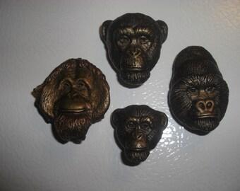 Gorilla, orangutan, chimpanzee magnet set