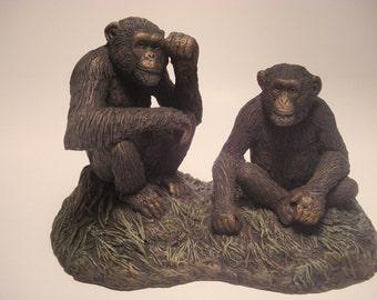 Chimpanzee Sculpture  Sitting Chimpanzees