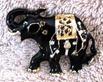 Black rhinestone elephant pin