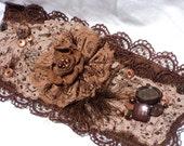 Floral and Lace Brown Felt Cuff Bracelet