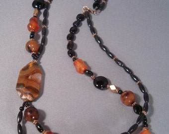 The Tigress, Carnelian and Black Onyx Necklace
