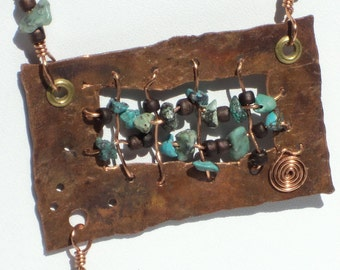 Distressed Copper Statement Necklace With Turquoise