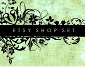 Etsy Shop Set, Premade Banner Set, Chic Store Set, Avatar, Thank you graphic, Green Black Floral Grunge