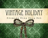 Holiday Premade Etsy Shop Set, Banner, Avatar, Vintage Green, Jewely Bow, Wrapping Paper Christmas